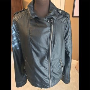 Moto jacket. Black faux leather. Size XL.
